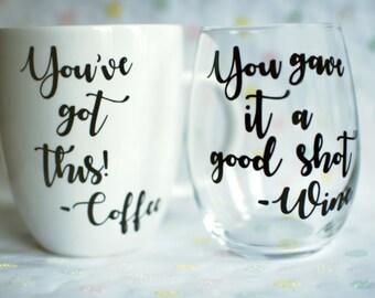 You've Got This Coffee Mug and Stemless Wine Glass Set | Stemless Wine Glass | Coffee Mug | Mug Wine Glass Set | Coffee Gift | Wine Gift