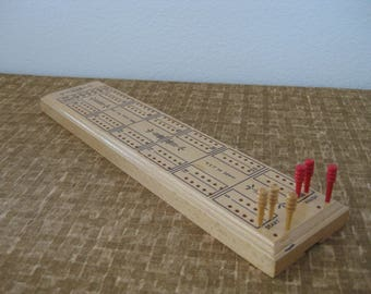 1940s Cribbage Board E.S. Lowe Vintage Wooden Game Board w/ Original Box