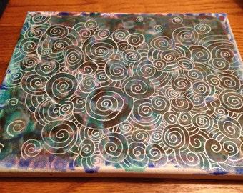 Rainbow Canvas Swirl (set of three)