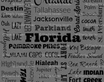 Florida Cities fabric - by the yard - red and black - gray and black