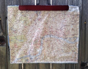 LONDON map blanket - England baby minky security blankie - small travel blanky, lovie, lovey, woobie - 13 by 16 inches