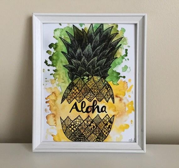 pineapple painting. Aloha Pineapple Print, Painting, Drawing, Watercolor Pineapple, Painting