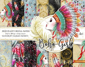 Boho Digital Paper Pack, Watercolor Digital Papers, Gold Black Backgrounds, Fashion Illustration, Planner Supplies, Stickers,Tribal Hippie