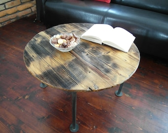 Handmade Reclaimed Wood & Steel round Coffee Table - Vintage Rustic brown Industrial Coffee Table