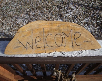 Wood Burned,welcome sign, wooden wedge sign, magnifying glass Art, MagBurn, front porch decor,