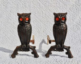 Vintage owl andirons | Etsy