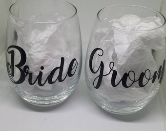 Stemless Bride and Groom Wine Glasses