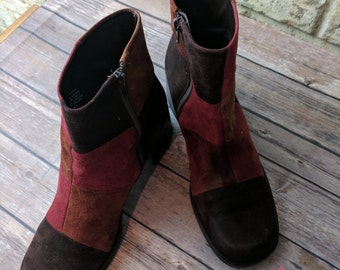 Original 70s 80s Suede Leather Patchwork Boots Steampunk Hippie Chunky Goth Cosplay