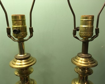 Pair of mid century modern brass lamps