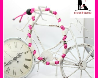 """EM - ceramic necklace """"pink with butterflies"""""""