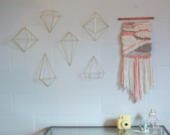 Baby Pink and Beige Textured Woven Wall Hanging