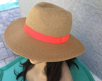 Wide Brimmed Sun Hat with Coral Ribbon