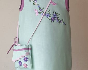 Linen girl dress 100% linen dress age 3-5 years old dress for girls special occasion summer dress linen bag bithday dress babygirl dress
