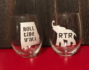 Roll Tide wine glass set