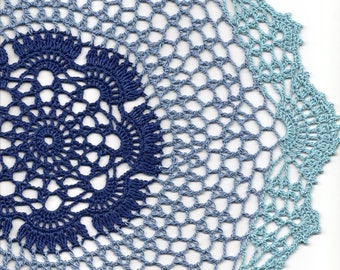 Ombre Lace Crochet Doily Blue Handmade Cotton Handcrafted Round Doilies Crocheted Centrepiece Lacy Home Decor Wedding Decorative Bohemian