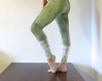 Hand dyed khaki leggings tie dye pants, yoga pants, yoga leggings, Festival wear, batik
