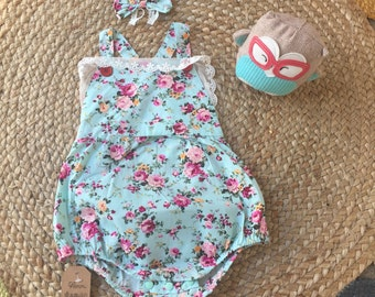 Baby girl ROMPER - vintage floral patter- with headband