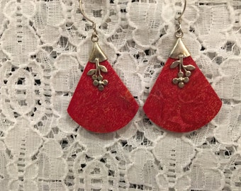 Genuine Sponge Coral Sterling Silver Earrings