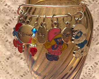 Smurfs Charm Bangle Bracelet/Smurfs Jewelry/Smurfs/Smurfette/Smurfs Bracelet/Smurfs Charms/Smurfs Movie/Smurfs Charm Bangle