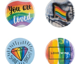 """LGBT Pride 8 Pack of 1.25"""" Button Pins"""