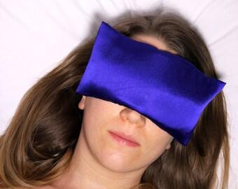 DARK BLUE SAREE Relax-Well Lavender Eye Pillow | Satin Washable Cover | Recovery Relaxation Handmade Meditation Yoga Shavasana Spa Women Men