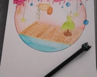 Watercolor illustration nursery fairy