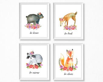 PRINTABLE Floral Woodland Animal Girl Nursery Art, Girl Woodland Nursery Prints, Printable Watercolor Nursery, Woodland Girl, Be Kind Brave