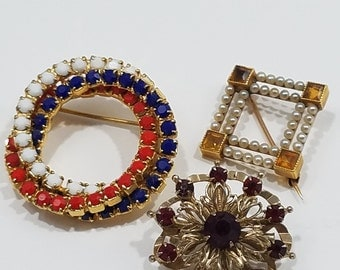 Trio of Small Vintage Brooches!  Very Cute!