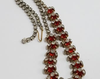 What a Unique Find!  Gorgeous Rhinestone Necklace with Red & Clear Rhinestones