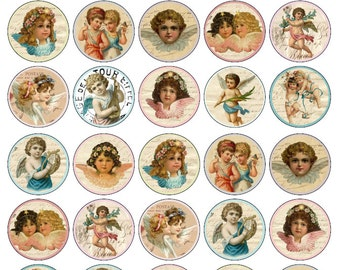 30 Beautiful Cherub Vintage Valentine Cupid Edible Wafer Cupcake Toppers 1.5inch Circular PRE CUT Ready To Use