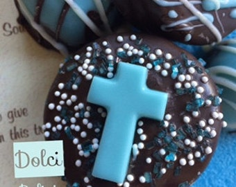 Blue Boys Baptism Favors, Blue Communion Favors, Blue Chocolate Covered Oreos with Cross, Blue Chocolate Dipped Oreos, Religious Cookies