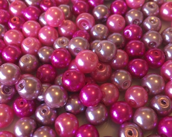 8mm Pink Glass Pearl Mix x 140