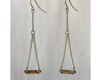 Silver and Gold Colored Chain Metal Dangle Earrings