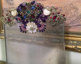 Vintage Necklace/Earring Holder Adorned, Jewerly Holder, Jeweled Necklace Holder