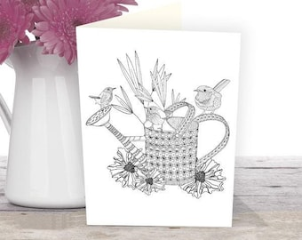 Wren coloring card, instant download, grown-ups colouring, nature lovers gift