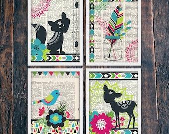 Nursery Animal Prints, Set of Four Woodland Creatures Boho Nursery Wall Decor PRINTABLE, Bohemian Woodland Rustic Nursery (#14425-8)