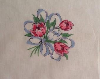Vintage Handkerchief / Pink Tulips - Yellow Trim