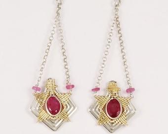 Pink Tourmaline Starburst Earrings