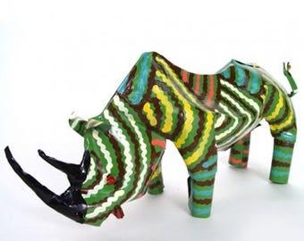 Recycled Metal Rhino Art