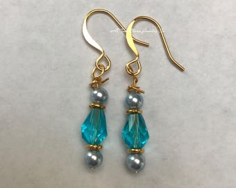 Turquoise Teardrop Crystal Earrings