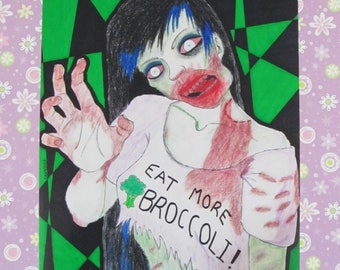 Eat More Broccoli! Zombie - Art Print
