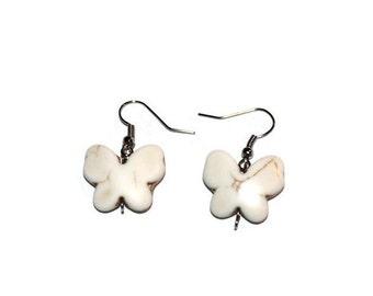 Butterfly Earrings, White Earrings, Howlite Earrings, Gemstone Earrings, Cute Earrings, Cute Jewelry, Gemstone Jewelry, Butterfly Jewelry