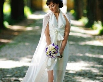 Silk Wedding Dress/ Halter Wedding Dress/Plunging V-Neck Wedding Dress
