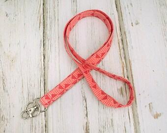 Lanyard ID Badge Holder- Pink Pinwheel Fabric