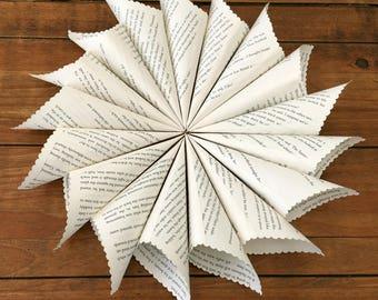 50 Confetti Cones, Book Page Cones, Wedding Petal Cones, Paper Cones, Petal Cones, Petal Holder, Flower Petal Holder, Cones for Confetti