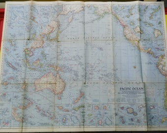 map National Geographic PACIFIC OCEAN 1952 95 x 73,5 cm.