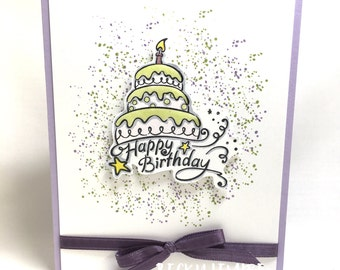 Purple and Green Birthday Cake Greeting Card