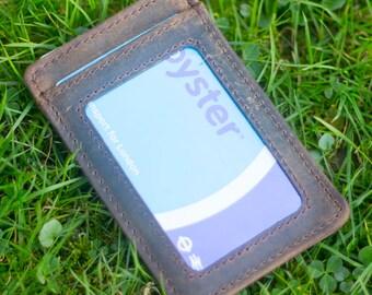 Handcrafted Credit Card Holder Genuine Leather Oyster ID Holder