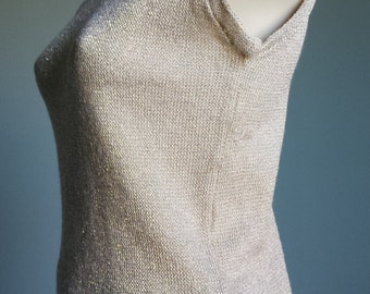 Vintage 1960s gold knit tank top