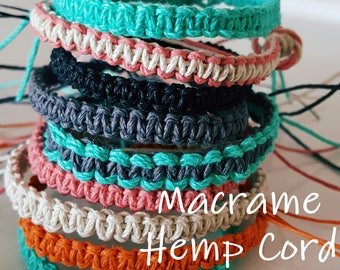 NEW! HANDMADE! Choose your Color MACRAME Hemp Cord Bracelet